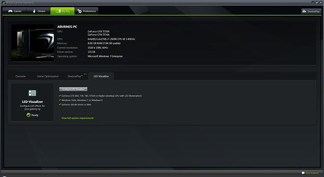 GeForce Experience NVIDIA GeForce GTX LED Visualizer - My Rig