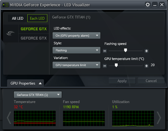 GeForce Experience NVIDIA GeForce GTX LED Visualizer - GPU Alarm