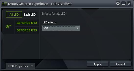 GeForce Experience NVIDIA GeForce GTX LED Visualizer - LED Visualizer Window