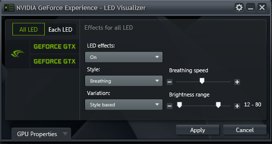 GeForce Experience NVIDIA GeForce GTX LED Visualizer - All LEDs Mode