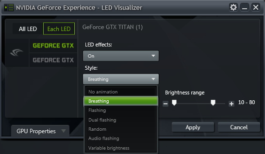 GeForce Experience NVIDIA GeForce GTX LED Visualizer - Style Dropdown