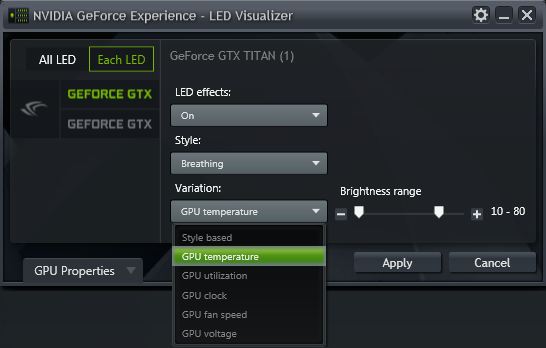 GeForce Experience NVIDIA GeForce GTX LED Visualizer - Variation Dropdown