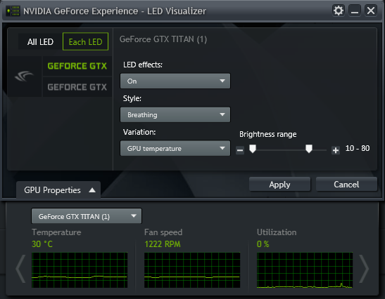 GeForce Experience NVIDIA GeForce GTX LED Visualizer - GPU Properties Window