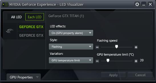 GeForce Experience NVIDIA GeForce GTX LED Visualizer - GPU Alarm