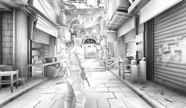 Greyscale capture of Splinter Cell Blacklist AO option in a fixed scene.