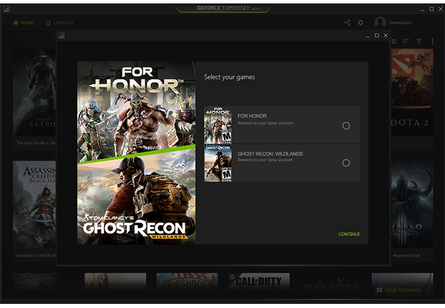 Купон nvidia Ghost Recon Wildland/For Honor