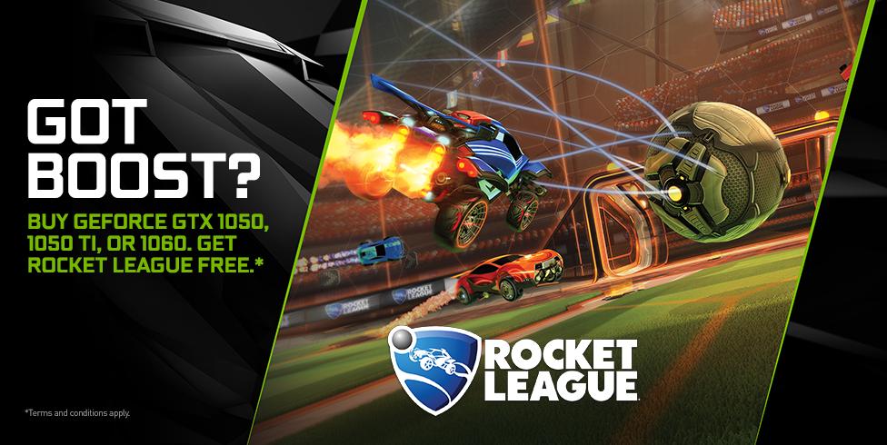 Buy GeForce GTX 1050, 1050 Ti, or 1060. Get Rocket League free.*